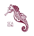Hand drawn tattoo stylised seahorse Marine life vector image