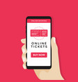 hand holding smart phone with online cinema ticket vector image vector image