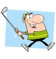 Happy Golfer Running vector image vector image
