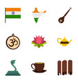 indian symbols icon set flat style vector image vector image
