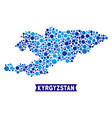 kyrgyzstan map connections composition vector image vector image