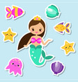 mermaid stickers set fairy elements for scrapbook vector image