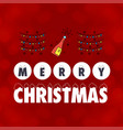 merry christmas card with red background and vector image