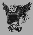 motorcycle rider helmet t shirt print design vector image vector image