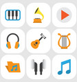 music flat icons set collection of acoustic tone vector image vector image
