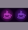 neon cup and saucer in purple and violet color vector image