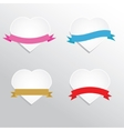 Paper hearts with ribbons vector image vector image