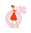 powerful confident woman in a red dress showing vector image