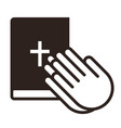praying hands and bible vector image vector image