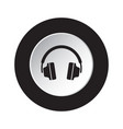 round black white button icon with headphones vector image vector image