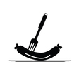 sausage and fork black vector image vector image