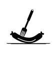 sausage and fork black vector image