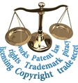 Scale IP rights legal justice concept vector image