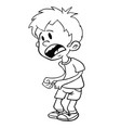 scared little boy black vector image vector image