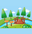 scene with trees and river vector image vector image
