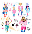 set animals hipsters vector image vector image