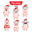 set of christmas pig characters set 3 vector image vector image