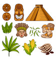 set of cultural mayan objects vector image vector image