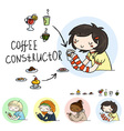 Set of cute doodle girls with cups and desserts vector image vector image