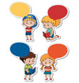 sticker template with boys and girls vector image vector image