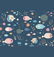 summer fish seamless pattern for background vector image