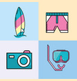 surfboard with swimsuit and camera with mask vector image vector image