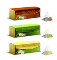 tea packaging realistic design vector image vector image