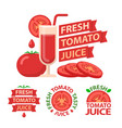 tomato juice badge emblems vector image vector image