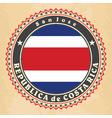 vintage label cards costa rica flag vector image