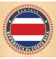 Vintage label cards of Costa Rica flag vector image vector image