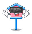 virtual reality wooden bird house on a pole vector image vector image