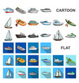 water and sea transport cartoon icons in set vector image vector image