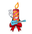 with guitar christmas candle combined with pita vector image