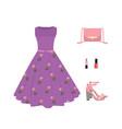 woman summer outfit set dress handbag and shoes vector image vector image