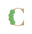 wooden leaves letter c vector image vector image