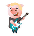 a funny piggy sings and plays on bass guitar vector image