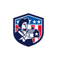 American Patriot Holding House Flag Crest Retro vector image