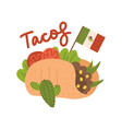 big tasty taco concept with mexican flag tacos vector image vector image