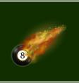black billiard ball on fire flame vector image vector image
