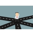 Businessman on crossroad choosing direction vector image vector image