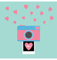 Camera Instant photo Flat design style Pink hearts vector image vector image