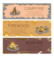 campfire firewood and bonfire colorful poster vector image vector image