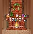 christmas red brick classic fireplace vector image vector image