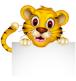 cute baby tiger with blank sign vector image vector image