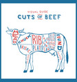 cuts beef cow logo red blue on white vector image vector image