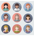 Different female faces in circle icons vector image