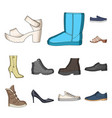 different shoes cartoon icons in set collection vector image