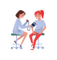 female doctor measuring blood pressure at female vector image vector image