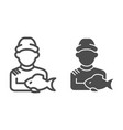fisherman with fish line and glyph icon fisher vector image