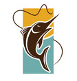 fishing time logo template fish catch on rod hook vector image vector image